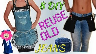 Download 8 Creative DIY Ways HOW TO REUSE / RECYCLE OLD JEANS Video