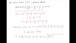 Download Prove that (a + b + c)(1/a + 1/b + 1/c) is greater than equal to 9 if a,b,c are all greater than 0. Video