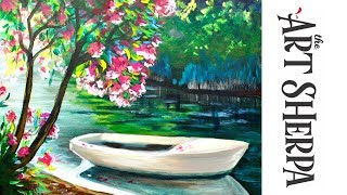 Download How to paint with Acrylic Lakeside Boat and Pink Flowering Tree Video