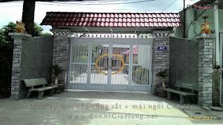 Download Mẫu cửa cổng sắt 4 cánh CK1256 có mái ngói cổng Video