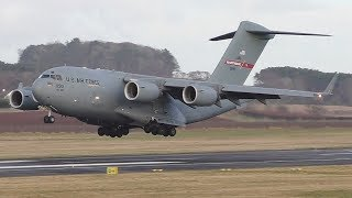 Download *Very Rare* USAF McDonnell Douglas C17A Landing at Prestwick Airport Video