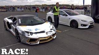 Download Lamborghini Aventador vs Prior Design Tesla PD-S1000 Model S Video