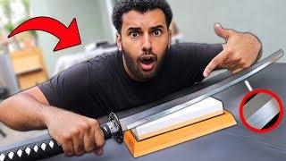Download I Sharpened a $20 KATANA Sword On A $500 Japanese WHETSTONE!! *SHARPER THAN A RAZOR* Video