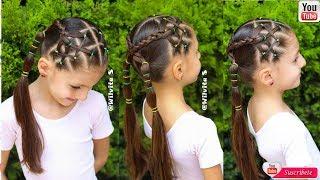 Download Peinado para NIÑAS con LIGAS para la ESCUELA / Peinados fáciles / WILVITA Video