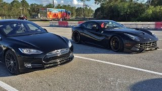 Download Tesla Model S P85D vs Ferrari F12 1/4 Mile Drag Racing Video