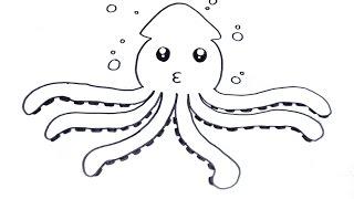 Download วาดรูป ปลาหมึก สอนวาดรูปการ์ตูนน่ารัก ง่ายๆ How To Draw Octopus Cartoon Video