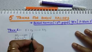 Download 5 Tricks for Boron Halides | Boron family Tricks | 13th group | p block elements by Komali mam Video