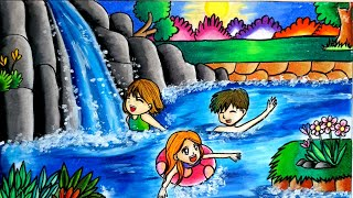 Download cara gradasi warna menggunakan oil pastel / drawing Waterfall Video