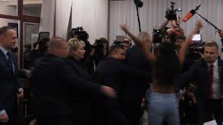 Download Czech president casts his ballot 'against Femen' after attack Video