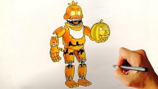 ♥ How to draw Nightmare mangle FNAF 4 Halloween edition Free ...