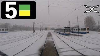 Download 🚋 GVB Amsterdam Tramlijn 5 Cabinerit Centraal Station - Station Zuid - Remise Havenstraat in sneeuw Video