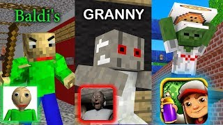 Download Monster School : BALDI'S BASICS VS GRANNY VS SUBWAY SURFERS GAME CHALLENGE - Minecraft Animation Video
