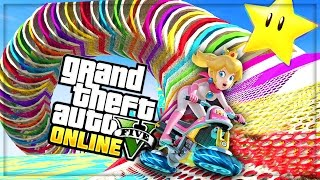 Download RAINBOW ROAD!! TOP 10 BEST GTA 5 ONLINE STUNT RACES (GTA V) Video