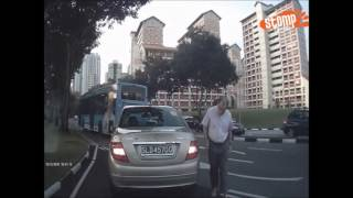 Download Mercedes' driver jams brake abruptly - then scolds Stomper for almost hitting his car at Bishan Video
