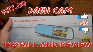 Download Amazon/Dash cam install and review 1080p dual camera rear view mirror display Video
