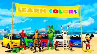 Download LEARN COLORS Motorbike, Small Cars and Big Trucks with Superheroes for Children and Babies Video