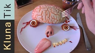 Download Eating BRAIN & EYEBALLS for Halloween!!! Kluna Tik Dinner #37 | ASMR eating sounds no talk Video