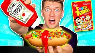 Download WEIRD Food Combinations People LOVE!! *HOT DOG & FRUITY PEBBLES* Eating Funky Gross DIY Candy Foods Video