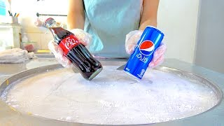 Download Coke coca-cola w/ PEPSI soft drink Ice cream VS Yogurt strawberry Ice cream rolls challenge Video