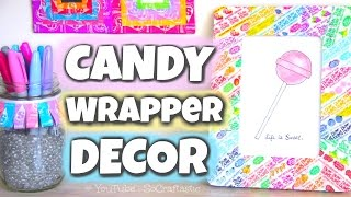 Download DIY CANDY WRAPPER ROOM DECOR - Picture Frame, Pencil Holder, & Wall Art! Video