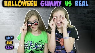 Download Halloween Gummy vs Real Challenge ~ Jacy and Kacy Video