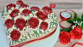 Download Relaxing - Valentine's day buttercream red rose heart shaped bouquet cake decorating tutorial Video