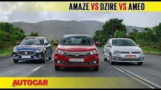 Download Honda Amaze vs Maruti Dzire vs VW Ameo | Diesel Auto Comparison Test | Autocar India Video