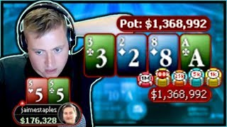 Download GOING WITH MY GUT FOR A 1,300,000 CHIP POT!! | PokerStaples Stream Highlights Video