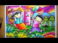 Download Menggambar dan mewarnai Pemandangan Taman | How to draw garden scenery | mewarnai gradasi crayon Video