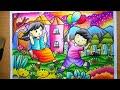 Download Menggambar dan mewarnai Pemandangan Taman | How to draw garden scenery | mewarnai gradasi crayon Video