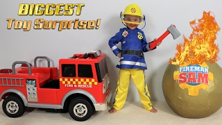 Download BIGGEST Fireman Sam Toy Collection Ever Giant Surprise Egg Opening Fire Engine Truck Ckn Toy Video