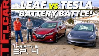 Download We Drive a Tesla Model 3 vs Nissan Leaf Up a MOUNTAIN to See Which is More Efficient! Thrifty 3 Ep.4 Video