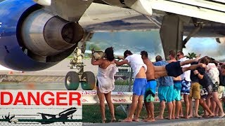Download 8 spectacular & dangerous Jet Blast Videos from Maho Beach at St. Maarten with different aircrafts Video