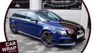 Download Blue Audi RS6 wrapped in Black Rose Video