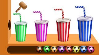 Download Colors Learn with XYLOPHONE Colorful Drink Cups Soccer Balls Finger Family Song for Kids Video