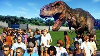 Download GIANT T-REX vs 3000 GUESTS in Jurassic World Evolution Video