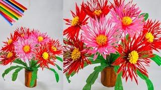 Download cara membuat bunga hiasan meja dari sedotan kreatif | flower crafts with a straw Video