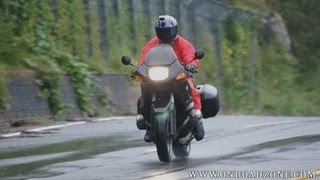 Download motorcycle wet condition riding BMW R1100RS In the rain riding movie video Video