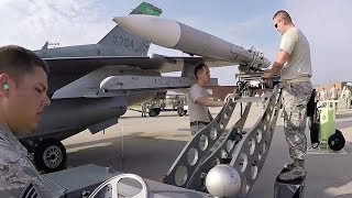 Download USAF F-16 Pilots And Maintainers Readying Fighter Aircraft For Takeoff Video