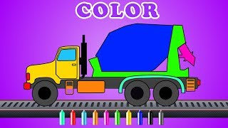 Download Learn colors with Cement mixer | kids truck videos | Cartoon about cars for kids Video