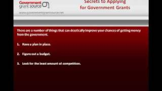 Download Secrets To Applying For Government Grants Video