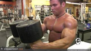 Download Brandon Williams Uses 150lb Dumbbells for Chest Press Video