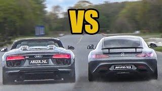 Download Audi R8 V10 Spyder Vs Mercedes AMG GTS - DRAG RACE! Video