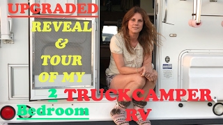 Download UPGRADED REVEAL & TOUR OF MY 2 ROOM TRUCKCAMPER ! Video