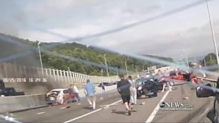 Download Massive Car Pileup, Dramatic Rescue Caught on Dashcam Video