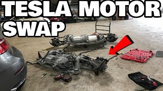 Download Restoring a Flood Salvage Tesla Model X Part 7: Tesla motor swap Video