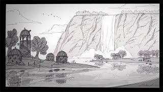 Download How to Draw a Waterfall City (with narration) Video
