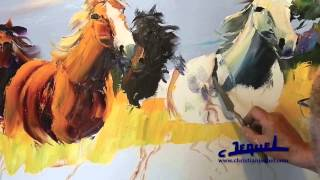 Download 02-Demonstration of knife painting by Christian Jequel: ″Horses″ Video