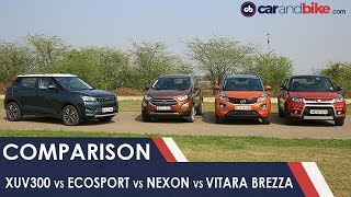 Download Mahindra XUV300 vs Ford EcoSport vs Tata Nexon vs Maruti Suzuki Vitara Brezza | NDTV carandbike Video
