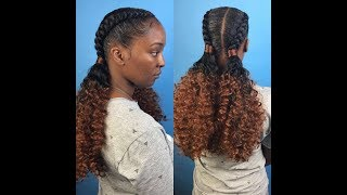 Download Two feed in braids with curly ponytails Video